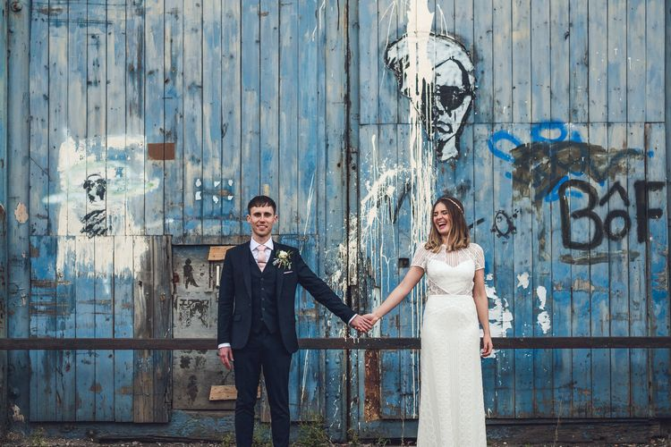 Bride in Lenora Watters Gown | Groom in Navy Suit | Contemporary City Wedding at People's History Museum & Hope Mill Theatre, Manchester Planned by Alternative Weddings MCR | Babb Photography