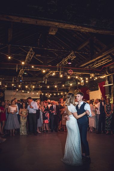 First Dance | Bride in Lenora Watters Gown | Groom in Navy Suit | Contemporary City Wedding at People's History Museum & Hope Mill Theatre, Manchester Planned by Alternative Weddings MCR | Babb Photography