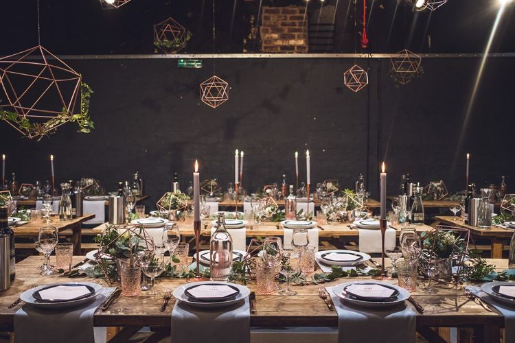 Copper Geometric Decor | Contemporary City Wedding at People's History Museum & Hope Mill Theatre, Manchester Planned by Alternative Weddings MCR | Babb Photography