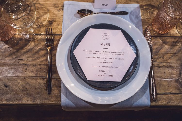 Place Setting | Contemporary City Wedding at People's History Museum & Hope Mill Theatre, Manchester Planned by Alternative Weddings MCR | Babb Photography