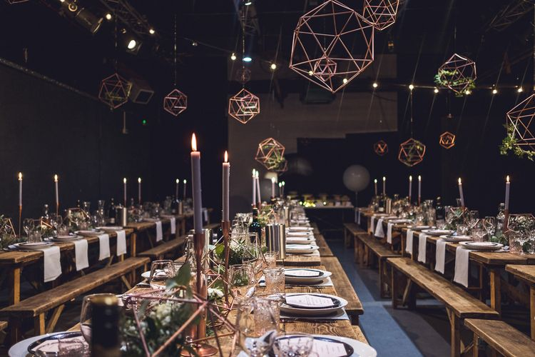Copper & Geometric Wedding Decor | Contemporary City Wedding at People's History Museum & Hope Mill Theatre, Manchester Planned by Alternative Weddings MCR | Babb Photography