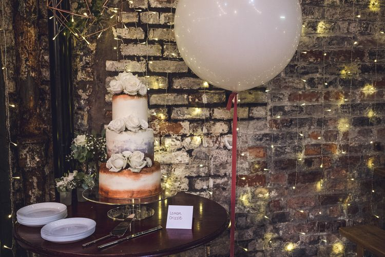Copper Wedding Cake | Giant Balloon | Contemporary City Wedding at People's History Museum & Hope Mill Theatre, Manchester Planned by Alternative Weddings MCR | Babb Photography