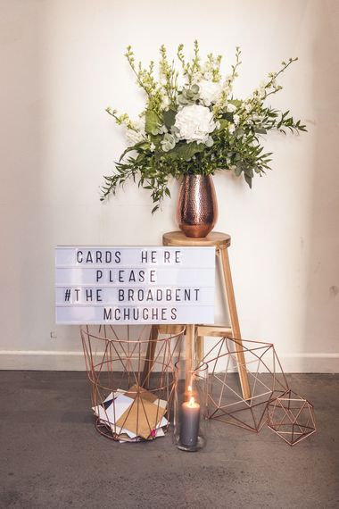 Geometric Copper Wedding Car Basket | Contemporary City Wedding at People's History Museum & Hope Mill Theatre, Manchester Planned by Alternative Weddings MCR | Babb Photography