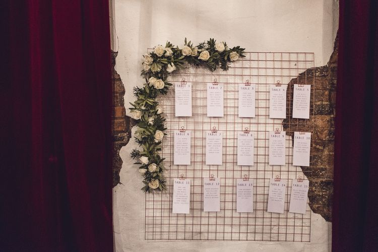 Wire Copper Table Plan | Contemporary City Wedding at People's History Museum & Hope Mill Theatre, Manchester Planned by Alternative Weddings MCR | Babb Photography