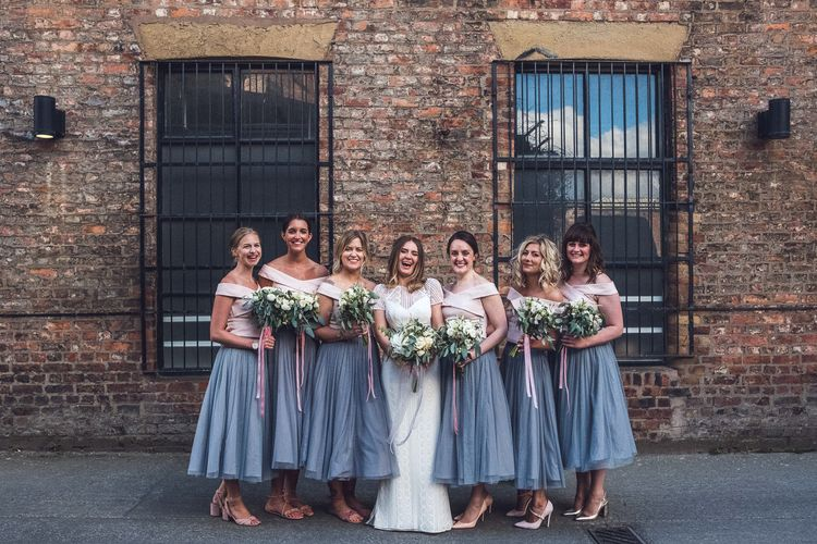 Bridesmaid in Grey Skirt & White Top Separates | Bridalsmaids in Watters Lenora Bridal Gown | Contemporary City Wedding at People's History Museum & Hope Mill Theatre, Manchester Planned by Alternative Weddings MCR | Babb Photography