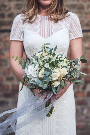 White & Green Bouquet | Bride in Watters Lenora Bridal Gown from Agape Bridal | Contemporary City Wedding at People's History Museum & Hope Mill Theatre, Manchester Planned by Alternative Weddings MCR | Babb Photography