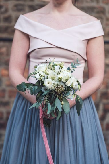 White & Green Bouquet | Bridesmaid in Grey Tulle Skirt & White Coast Top | Contemporary City Wedding at People's History Museum & Hope Mill Theatre, Manchester Planned by Alternative Weddings MCR | Babb Photography