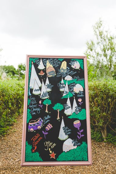 Hand Drawn Sign For Wedding // Festival Inspired DIY Wedding With Relaxed Dress Code Hay Bale Seating For Ceremony And Garden Games With Images From Livvy Hukins Photography
