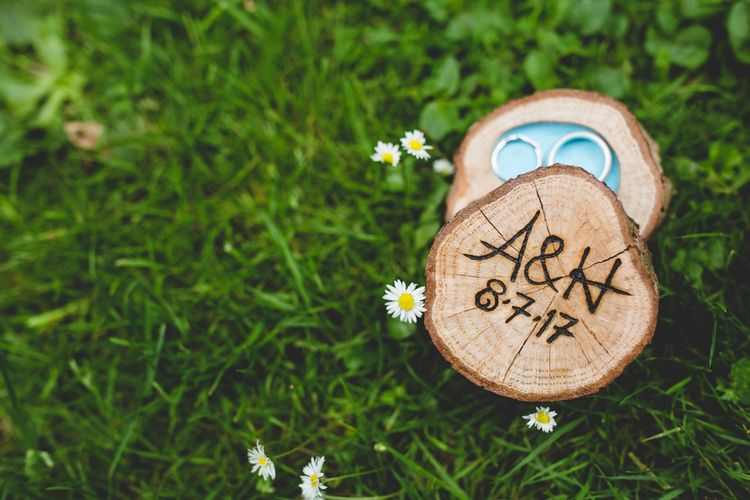 Wooden Ring Box // Festival Inspired DIY Wedding With Relaxed Dress Code Hay Bale Seating For Ceremony And Garden Games With Images From Livvy Hukins Photography