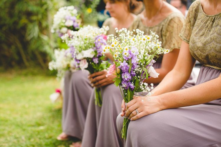 Bridesmaids In Mauve ASOS Dresses // Festival Inspired DIY Wedding With Relaxed Dress Code Hay Bale Seating For Ceremony And Garden Games With Images From Livvy Hukins Photography
