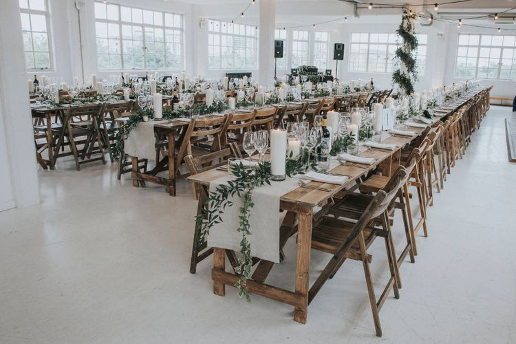 Wooden Trestle Tables For An Industrial Wedding In London