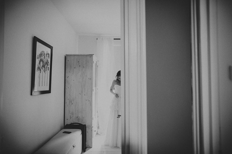 Bride & Groom Getting Ready At Home For Wedding Day
