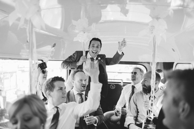 Wedding Guests inside Red Routemaster Bus