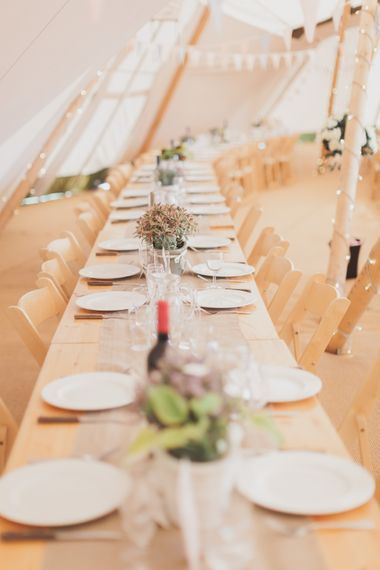 Rustic Table Settings For Tipi Wedding