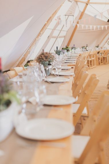 Rustic Table Settings & Flowers For Tipi Wedding