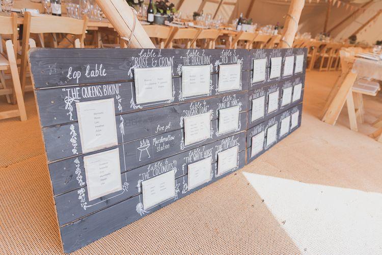 Giant Chalkboard Table Plan For Wedding
