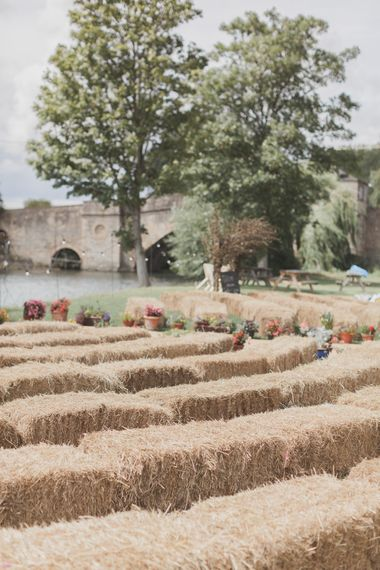 Haybale Seating For Outdoor Ceremony