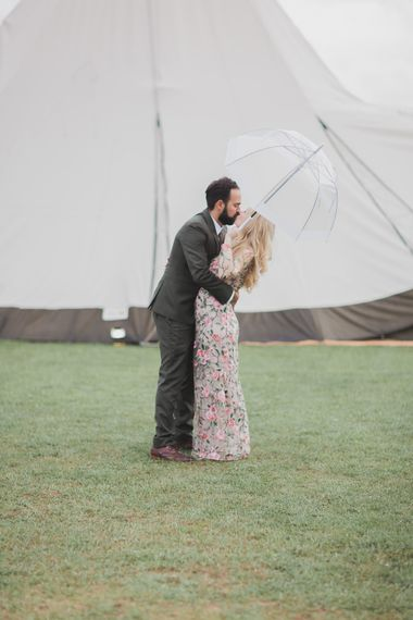 Bride In Bespoke Floral Lace Dress With Flower Crown For A White Tipi Wedding In The Cotswolds With Images By Ferri Photography