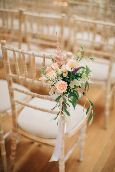 Blush, Aisle, Chair Back Flowers | Elegant, Pastel Wedding at Hedsor House, Buckinghamshire | M & J Photography | Shoot It Yourself Films