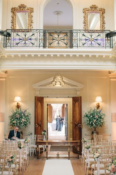 Aisle & Altar Wedding Decor | Elegant, Pastel Wedding at Hedsor House, Buckinghamshire | M & J Photography | Shoot It Yourself Films