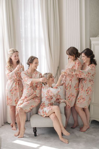 Wedding Morning Bridal Preparations with Matching Robes | Elegant, Pastel Wedding at Hedsor House, Buckinghamshire | M & J Photography | Shoot It Yourself Films