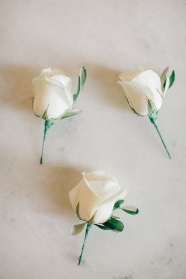 White Rose Buttonholes | Elegant, Pastel Wedding at Hedsor House, Buckinghamshire | M & J Photography | Shoot It Yourself Films