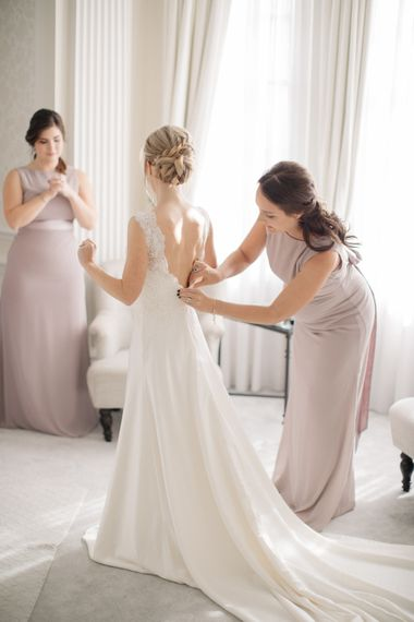 Wedding Morning Bridal Preparations | Bride on Pronovias Gown | Bridesmaids in Lavender ASOS Dresses | Elegant, Pastel Wedding at Hedsor House, Buckinghamshire | M & J Photography | Shoot It Yourself Films