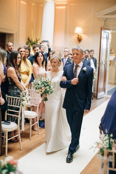Wedding Ceremony | Bridal Entrance in Pronovias Gown | Elegant, Pastel Wedding at Hedsor House, Buckinghamshire | M & J Photography | Shoot It Yourself Films
