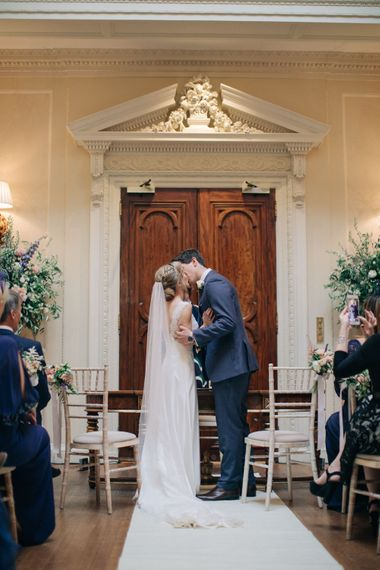 Wedding Ceremony | Bride in Pronovias Gown | Groom in Navy J.Crew Suit | Elegant, Pastel Wedding at Hedsor House, Buckinghamshire | M & J Photography | Shoot It Yourself Films