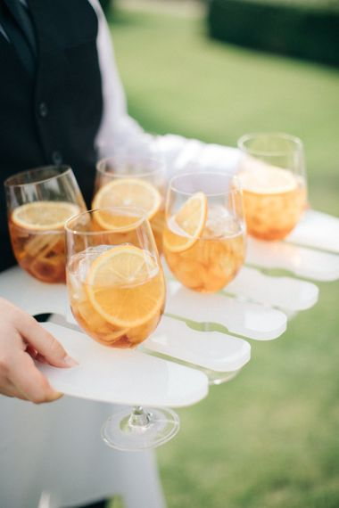 Aperol Spritz Drinks Reception | Elegant, Pastel Wedding at Hedsor House, Buckinghamshire | M & J Photography | Shoot It Yourself Films