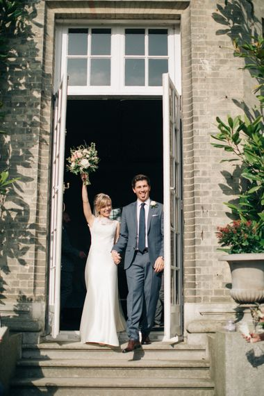 Bride in Pronovias Gown | Groom in J.Crew Suit | Elegant, Pastel Wedding at Hedsor House, Buckinghamshire | M & J Photography | Shoot It Yourself Films