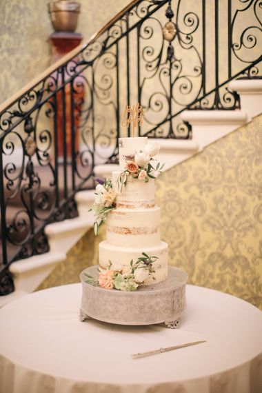 Semi Naked Wedding Cake by Dotty Rose | Elegant, Pastel Wedding at Hedsor House, Buckinghamshire | M & J Photography | Shoot It Yourself Films