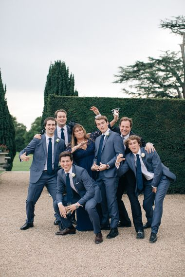 Groomsmen in Blue J. Crew Suits | Elegant, Pastel Wedding at Hedsor House, Buckinghamshire | M & J Photography | Shoot It Yourself Films