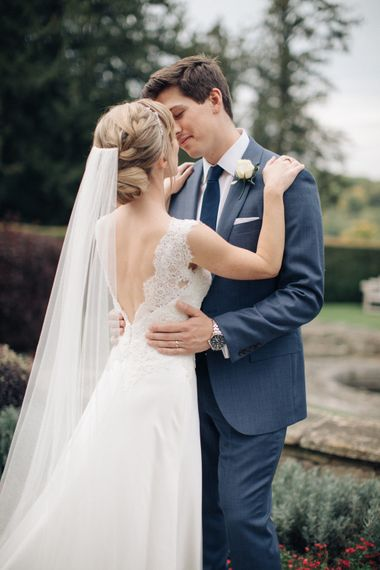 Bride in Pronovias Gown | Groom in Navy J.Crew Suit | Elegant, Pastel Wedding at Hedsor House, Buckinghamshire | M & J Photography | Shoot It Yourself Films
