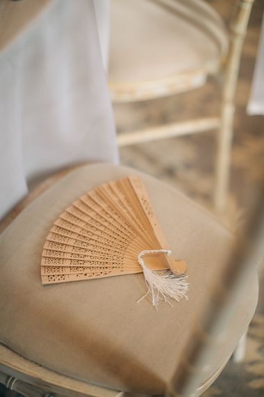 Fan Wedding Favour | Elegant, Pastel Wedding at Hedsor House, Buckinghamshire | M & J Photography | Shoot It Yourself Films