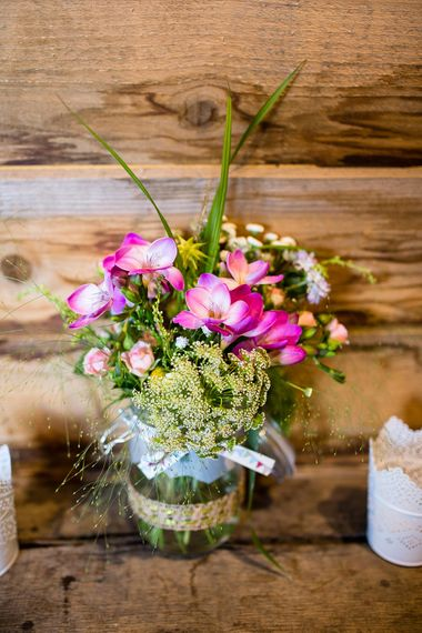 Wild Flower Jam Jars For A Wedding