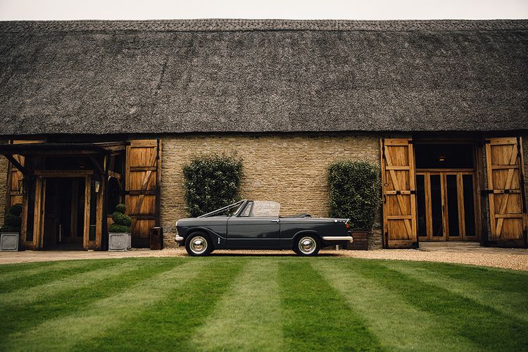 The Tythe Barn Oxfordshire and Vintage Wedding Car