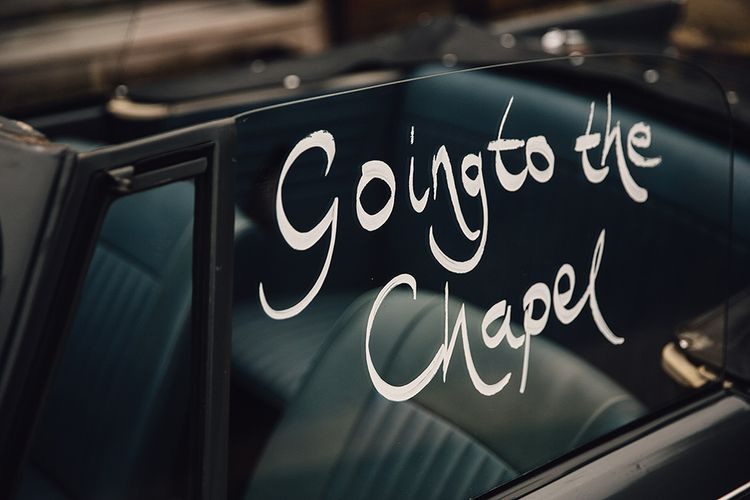 Vintage Wedding Car 'Going to the Chapel Sign'