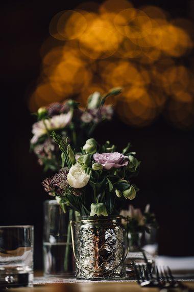 Mercury Glass Votives & Flower Stems Wedding Decor