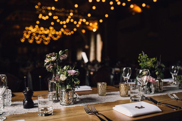 Mercury Glass Votives & Flower Stems Wedding Decor Centrepieces