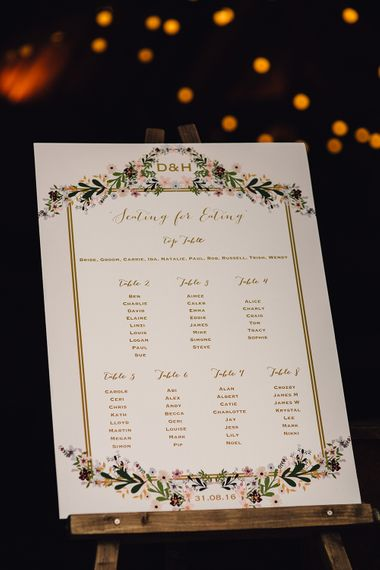Floral Seating Plan Board