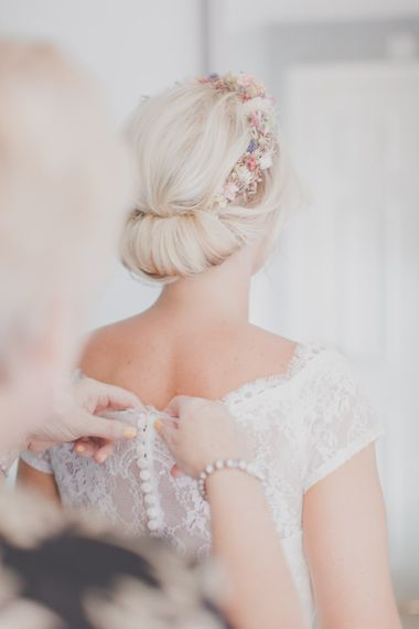 Chic Chignon Bridal Up Do & Folky Dokey Flower Crown