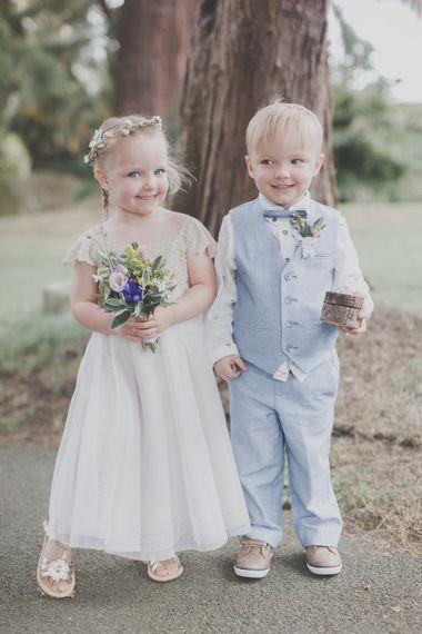 Flower Girl in Monsoon Dress & Page Boy in Pale Blue Trousers, Waistcoat & Bow Tie