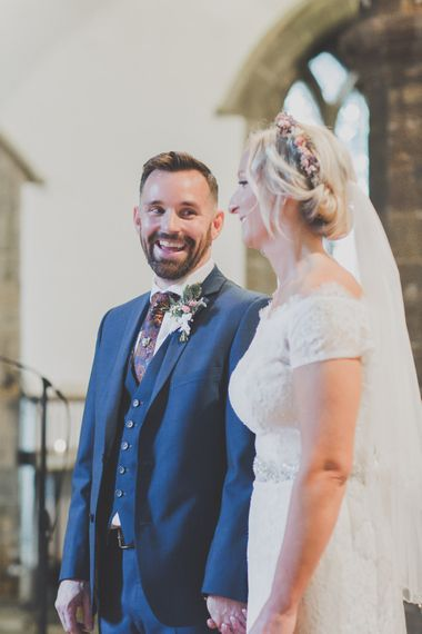 Church Wedding Ceremony with Bride in Lace Sincerity Bridal Wedding Dress