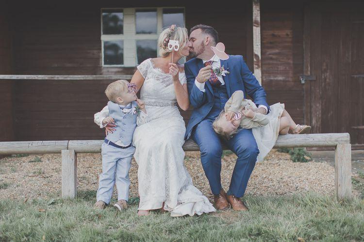 Bride, Groom & Children Family Portrait