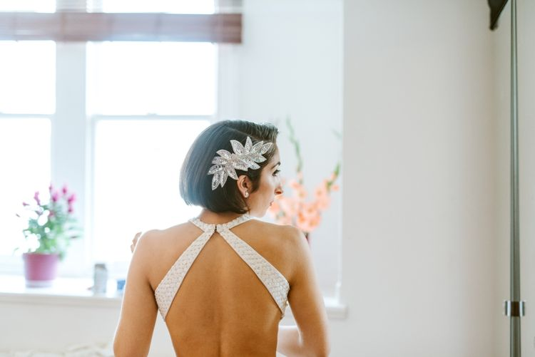 Bride in Backless Silver Sequin Gown from Etsy
