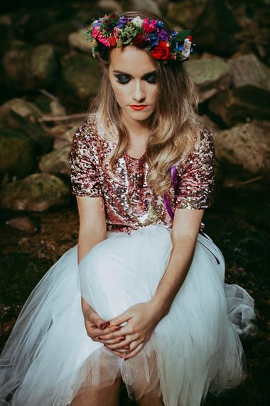 Bride In Sequinned Top With White Tulle Skirt