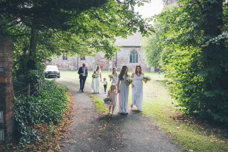 Bridal Party | Bridesmaids in Grey Marks and Spencer Gowns | Classic Wedding at The Mytton & Mermaid, Atcham | Willo Photography