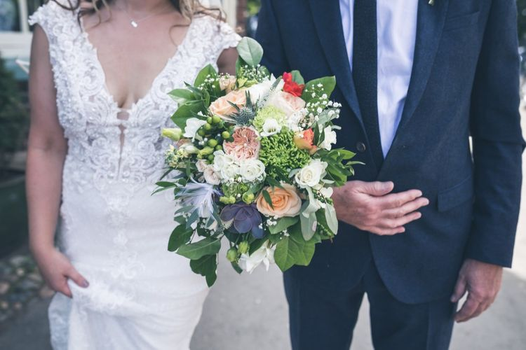 White, Green & Peach Bouquet | Classic Wedding at The Mytton & Mermaid, Atcham | Willo Photography
