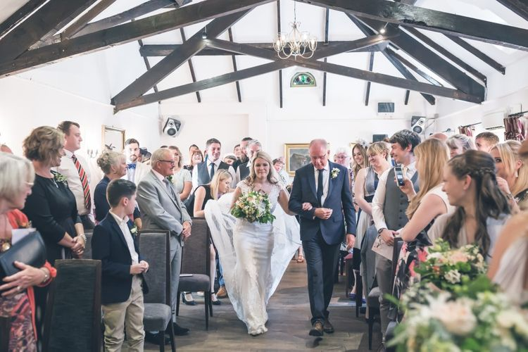 Bride in Lace The Signature Collection Bridal Gown from Wed2b | Father of the Bride in Limehaus Suit | Classic Wedding at The Mytton & Mermaid, Atcham | Willo Photography